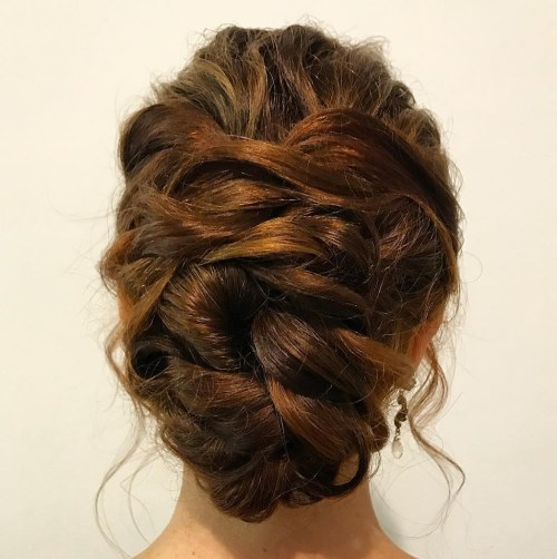 Messy Twisted Updo For Long Hair