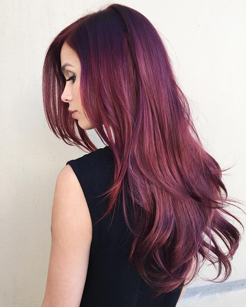 Long Layered Burgundy Hairstyle