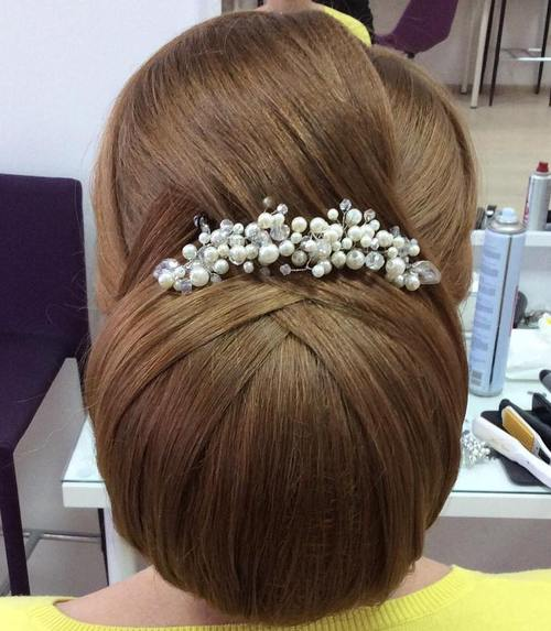 big chignon bridal updo for long hair