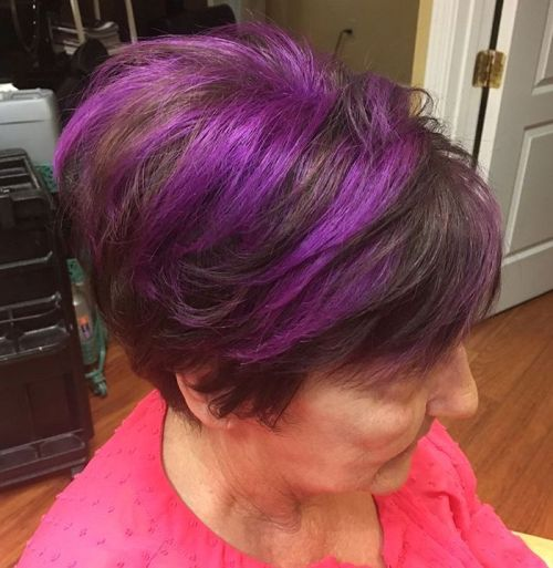 Brown Pixie Bob With Purple Highlights
