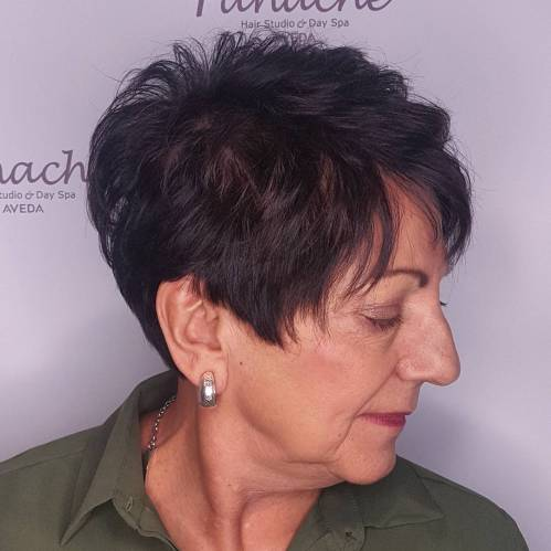 Brunette Pixie Hairstyle Over 70