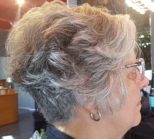 70+ Wavy Pixie with Nape Undercut