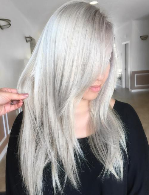 Silver Blonde Layered Straight Hairstyle