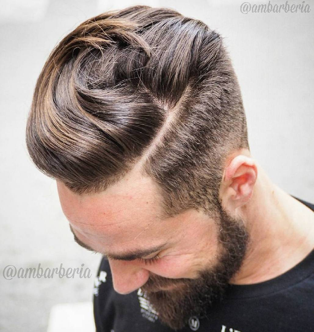 Long Top Short Sides Hairstyle With Beard