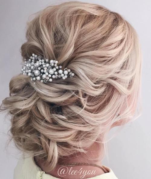 40 chic wedding hair updos for elegant brides loose low blonde updo junglespirit Images