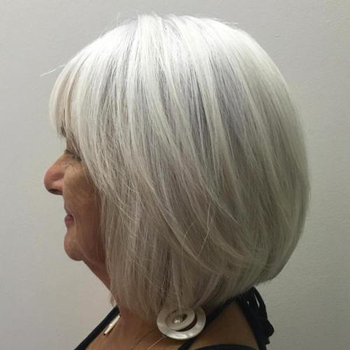 Long Gray Bob With Bangs For Year Olds