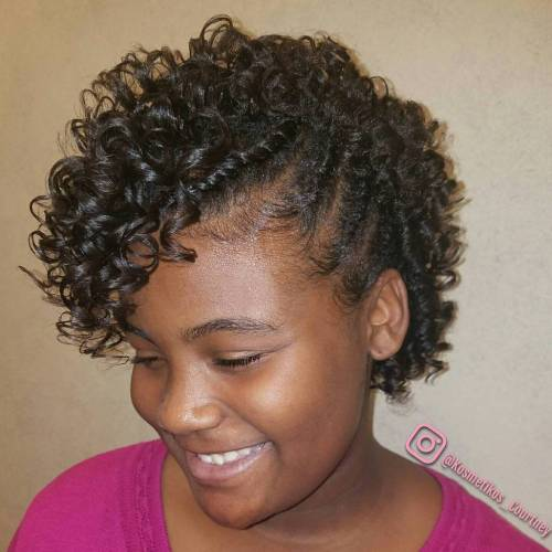 Short Black Curly Hairstyle With Braids