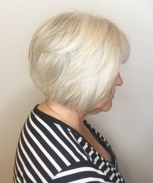 Short Layered Gray and White Bob with Bangs