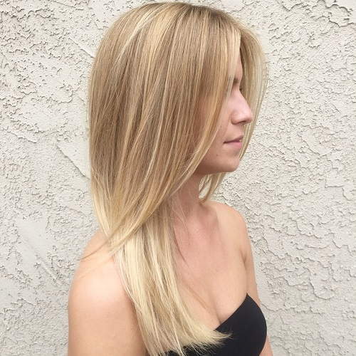 Straight Layered Blonde Hairstyle