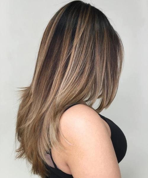 Straight Layered Brown Balayage Hair