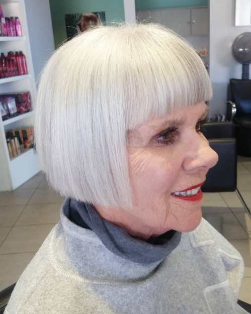 Straight Blunt Angled Bob for Older Women
