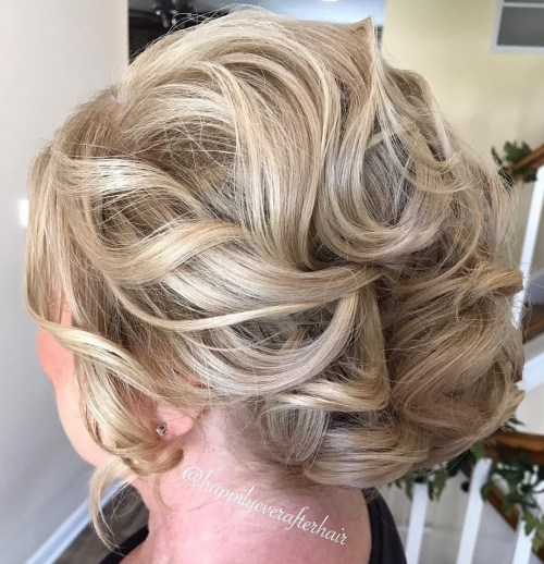 Loose Curled Blonde Updo