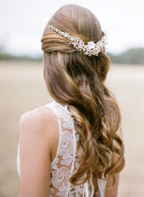 Half up half down wedding hairstyles 50 stylish ideas for brides simple wedding half up half down hairstyle junglespirit