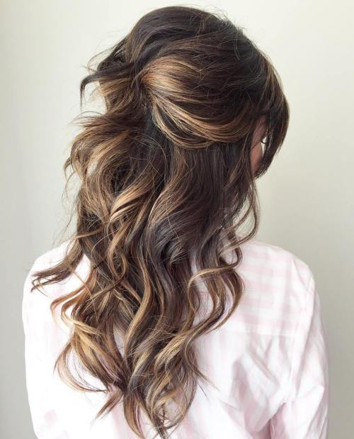 hairstyles down for wedding. curly half updo for long hair hairstyles down wedding e