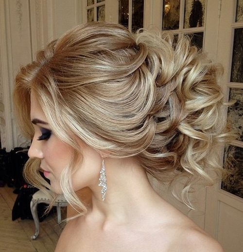 40 chic wedding hair updos for elegant brides curly loose wedding updo junglespirit Images