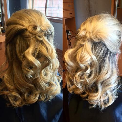 Formal Curly Half Updo