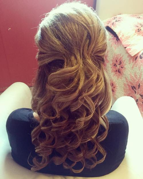Long Curly Half Up Hairstyle