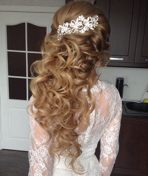Curly Hairstyles For Long Hair For Wedding: Half Up Half Down Wedding Hairstyles