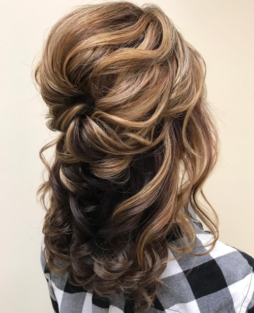 Voluminous Wavy Half Up Hairstyle