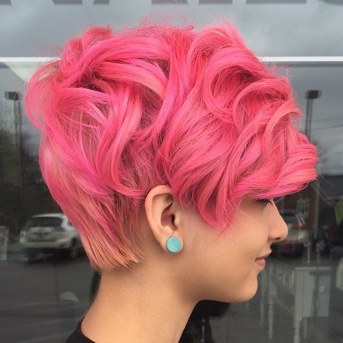 Curly Pastel Pink Pixie