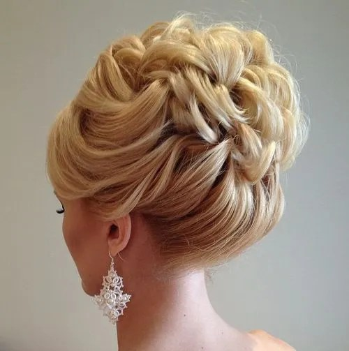 curly bridal updo for shorter hair