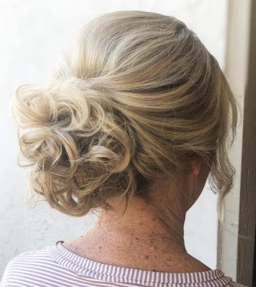 Curly Bun Hairdo For Mother Of The Bride