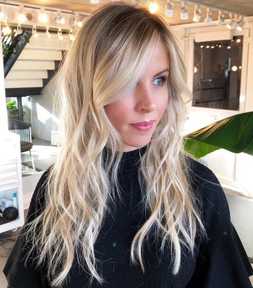 Long Wavy Blonde Shag