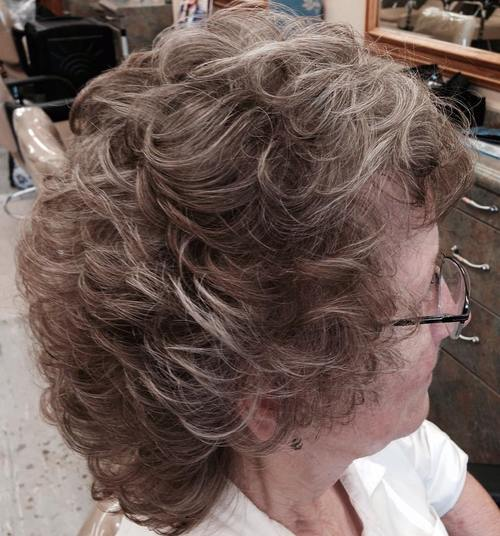 medium voluminous hairstyle for older women