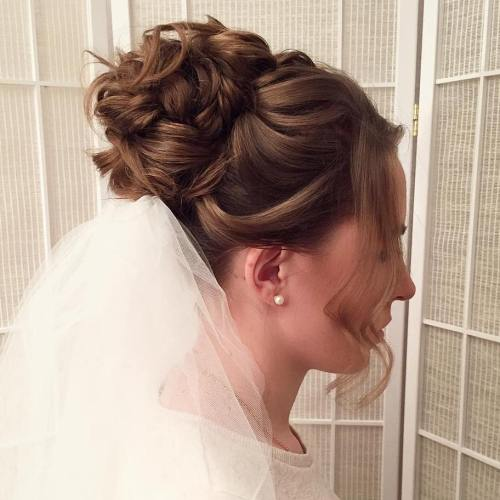 40 chic wedding hair updos for elegant brides wedding updo for shorter hair junglespirit Images