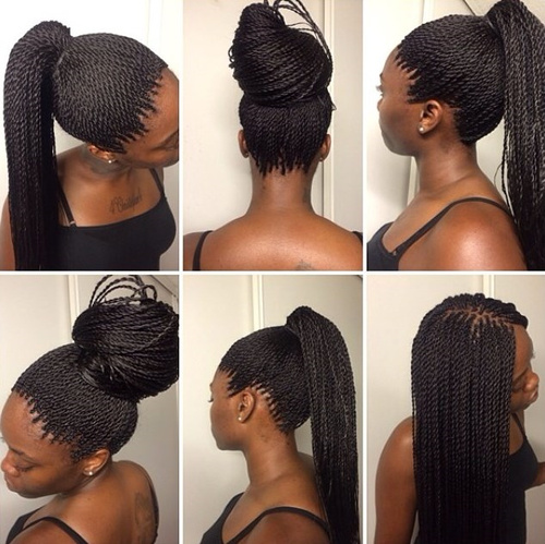 bun and pony hairstyles for thin twists