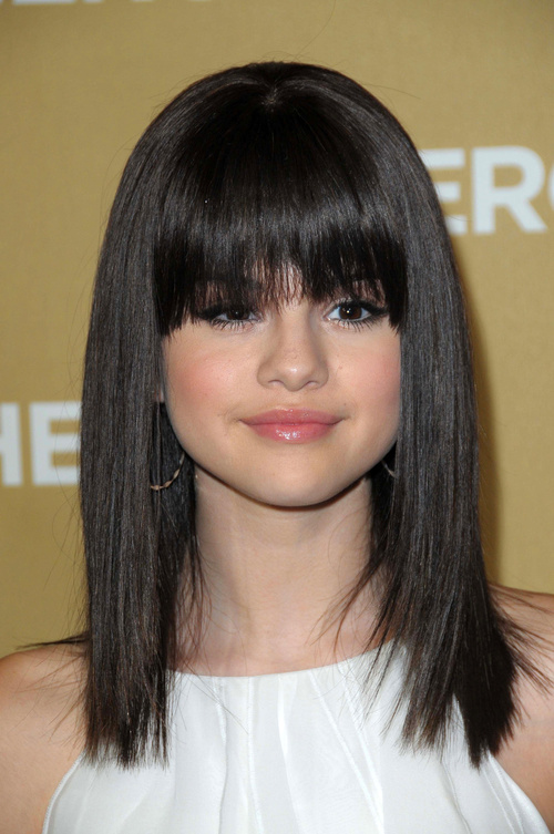 Selena Gomez long bob haircut with bangs
