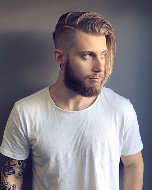 Amazing Mens Medium Hairstyle With Shaved Side