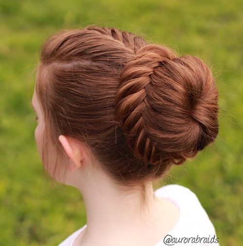 fishtail bun for long hair