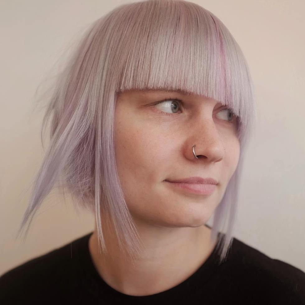 Pastel Purple Bob With Asymmetrical Bangs