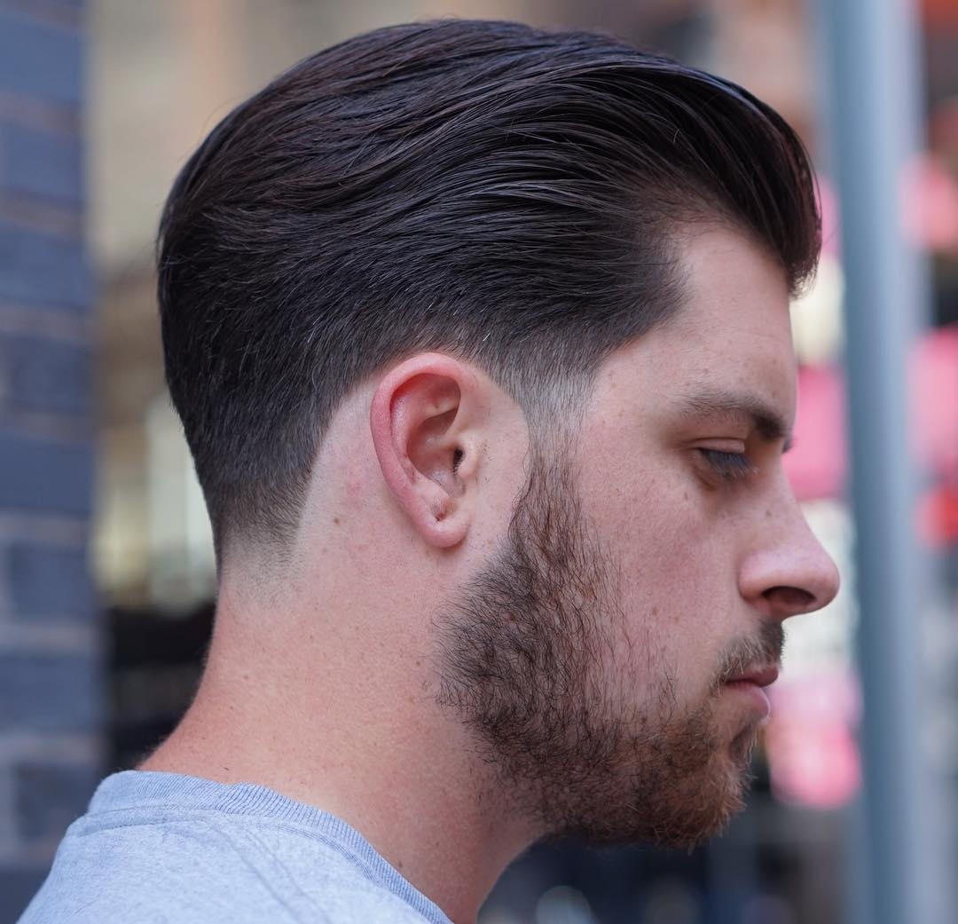 Awesome ... Medium Length Hair. Brushed Back Taper Fade