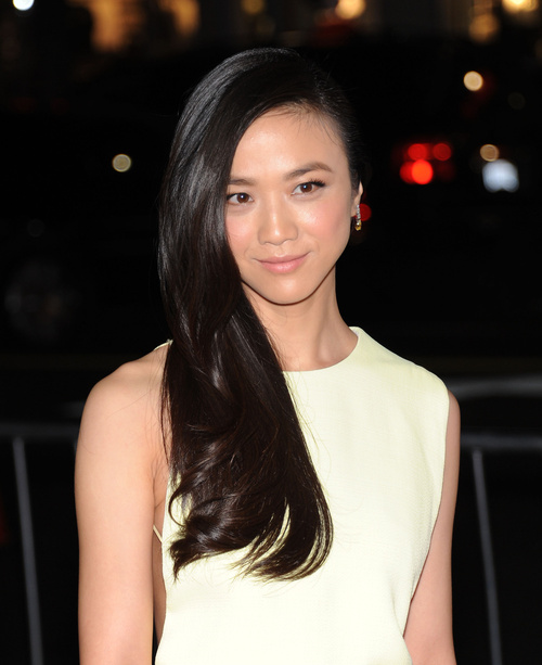 sleek side-swept Asian hairstyle