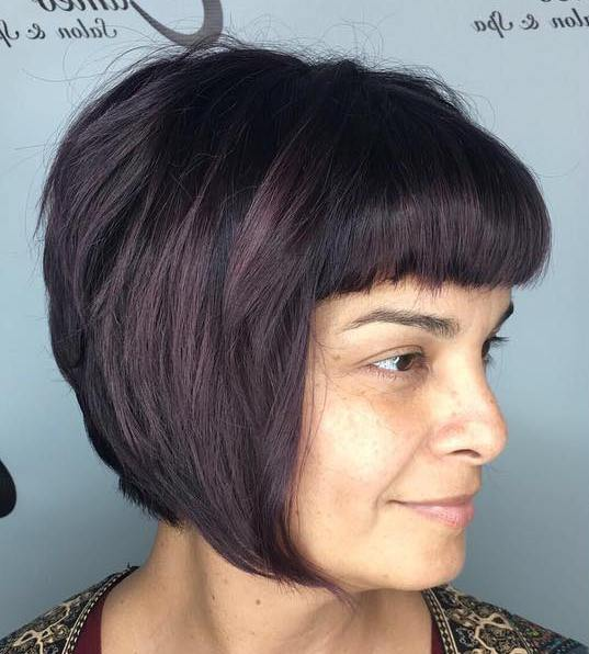 Chin-Length Stacked Bob With Bangs