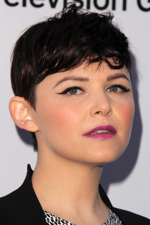 short pixie hairstyle with a fringe