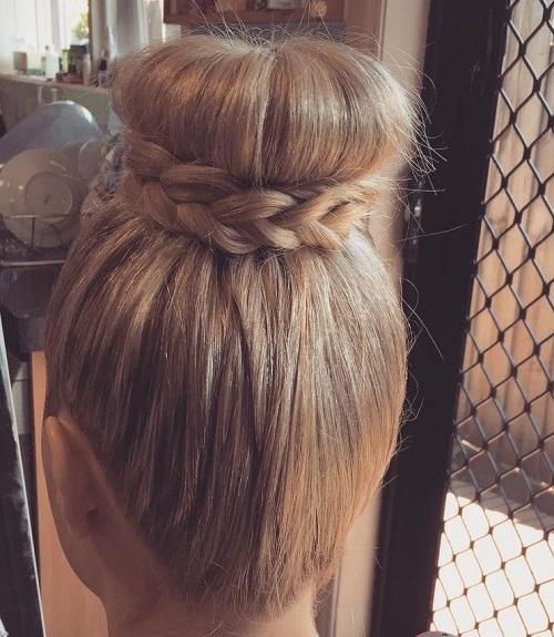 high bun braided around
