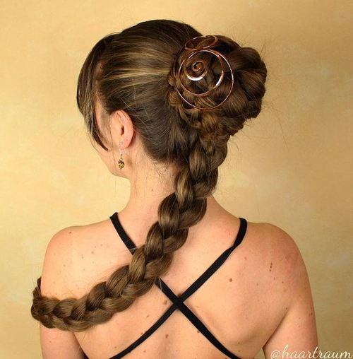 braided bun with attached braid
