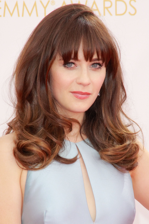 long curly hairstyle with a fringe
