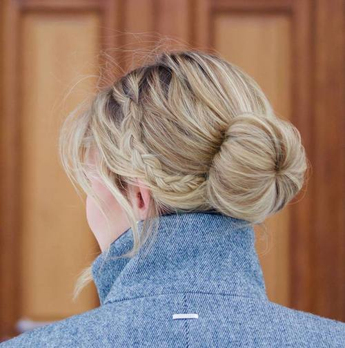 simple sock bun with a braid