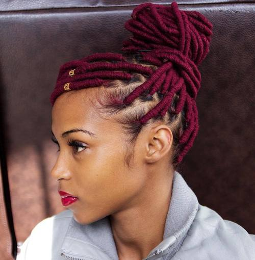 dreadlocks bun updo