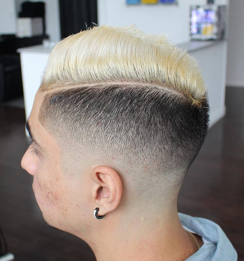 men's black and blonde side part fade