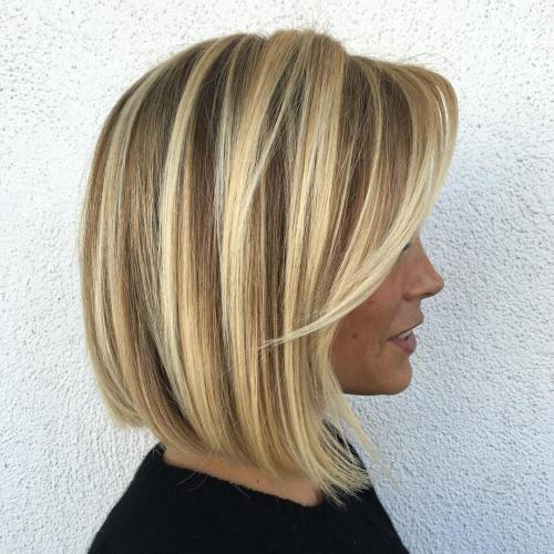 Bronde Bob With Chunky Blonde Highlights