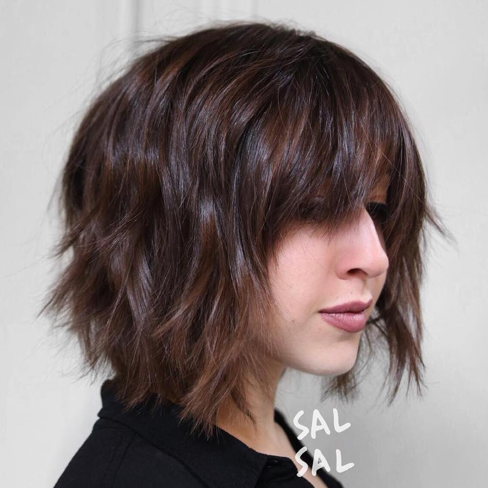 Shaggy Brown Bob With Bangs