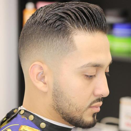 Fade With Gelled Pompadour