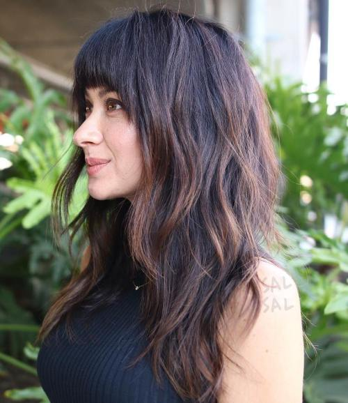 Long Layered Haircut With Bangs