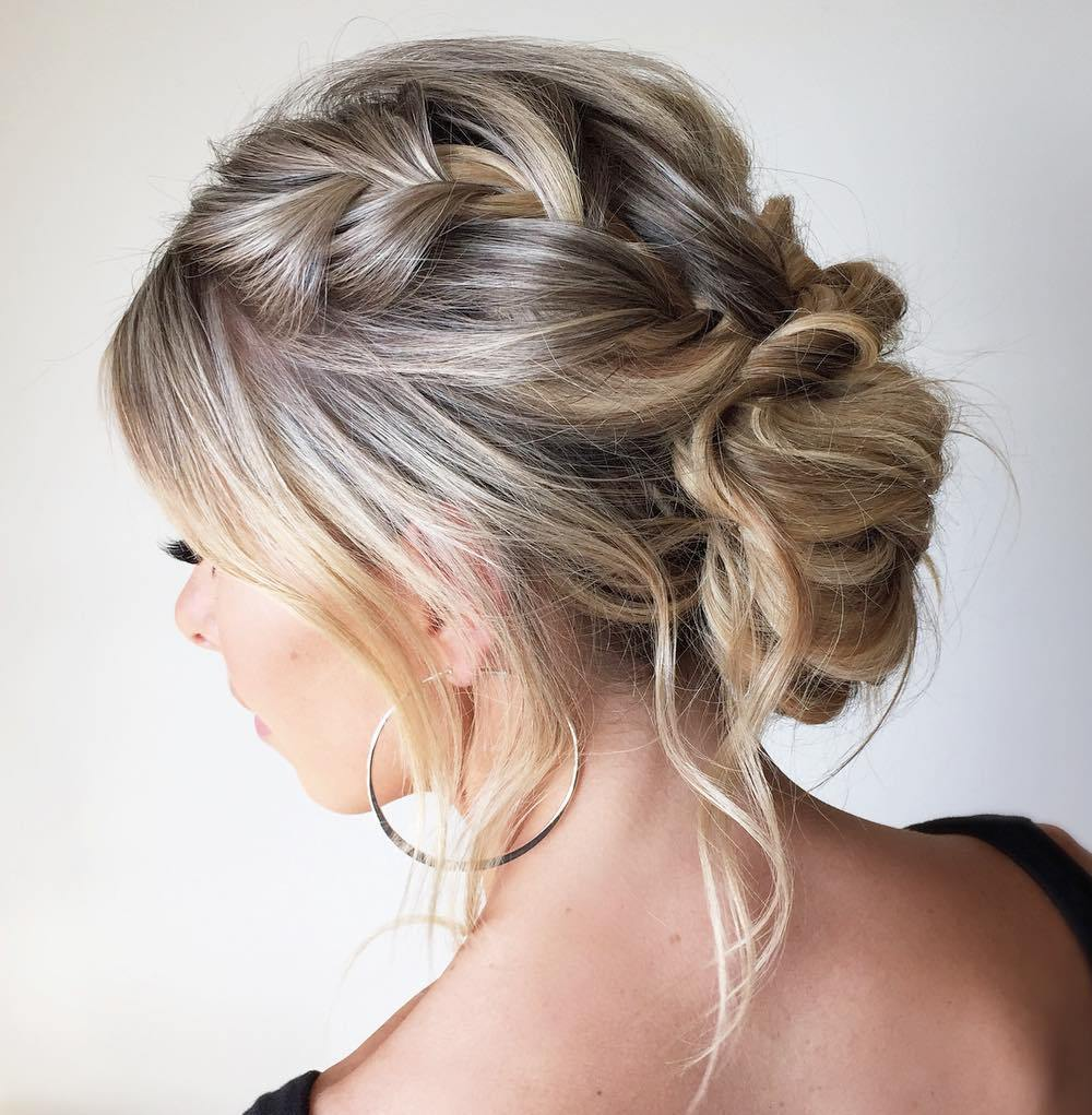 Captivating Messy Low Bun With A Braid