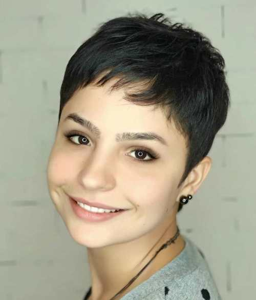Short Pixie Cut With Baby Bangs